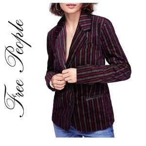 TAKE 50% OFF  FREE PEOPLE RED COMBO STRIPED BLAZER